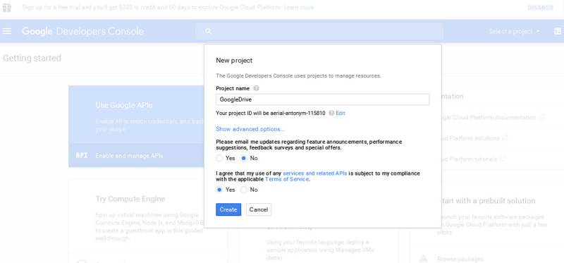 create new project google app