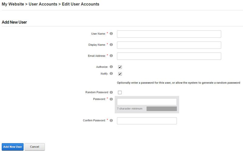 Add new user account in dnn