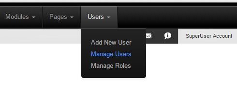 Manage users in dnn under users menu