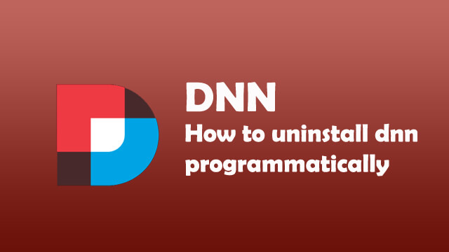 How to uninstall DNN Module programmatically?