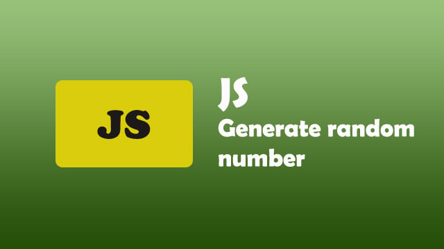 How to generate random number in Javascript?