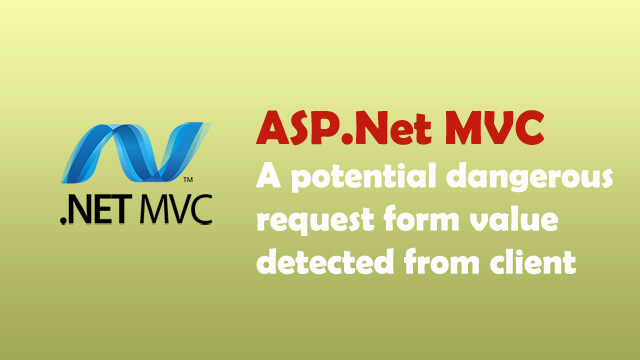 A potentially dangerous Request.Form value was detected from the client when submitting html content in ASP.Net MVC.