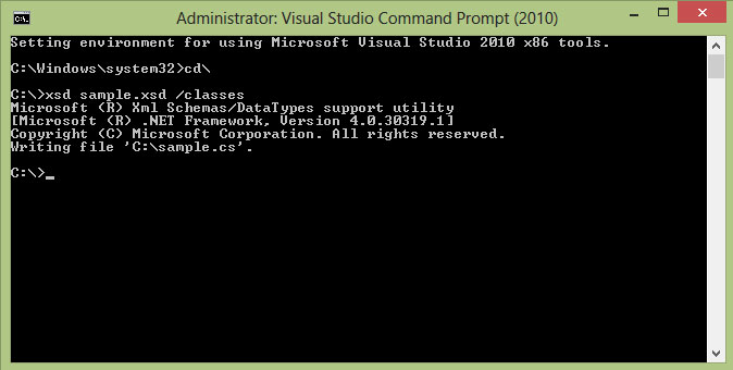 Visual studio command prompt xsd classes