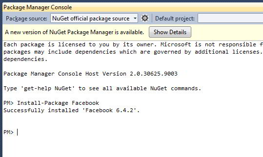 Nugget Install Facebook SDK