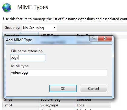 Adding mime type ogv in IIS7