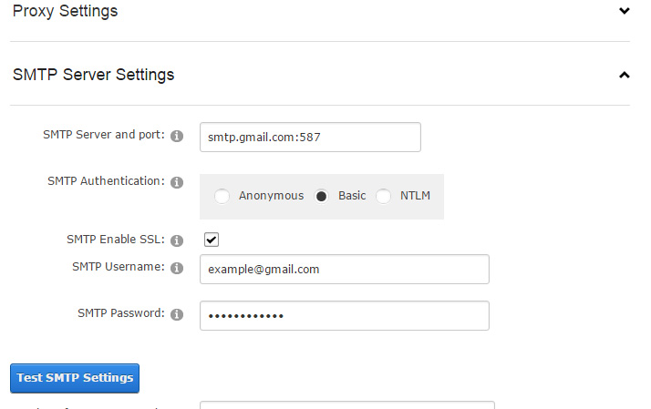 gmail smtp settings in dnn
